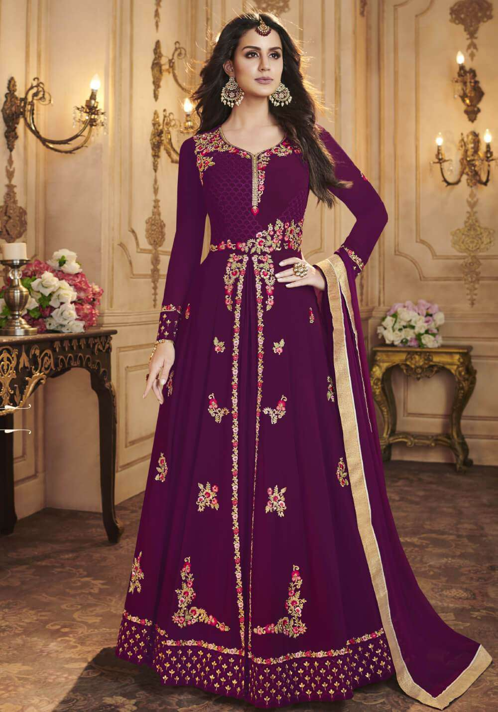 Purple Apple Georgette With Classy Embroidered Salwar Kameez  MYSK-1573