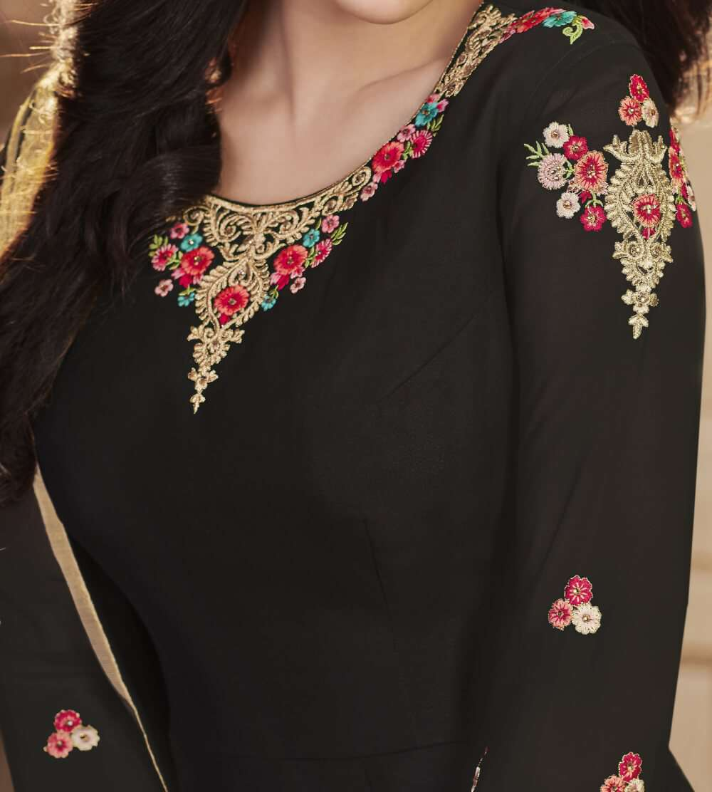 Black Apple Georgette With Classy Embroidered Salwar Kameez  MYSK-1575