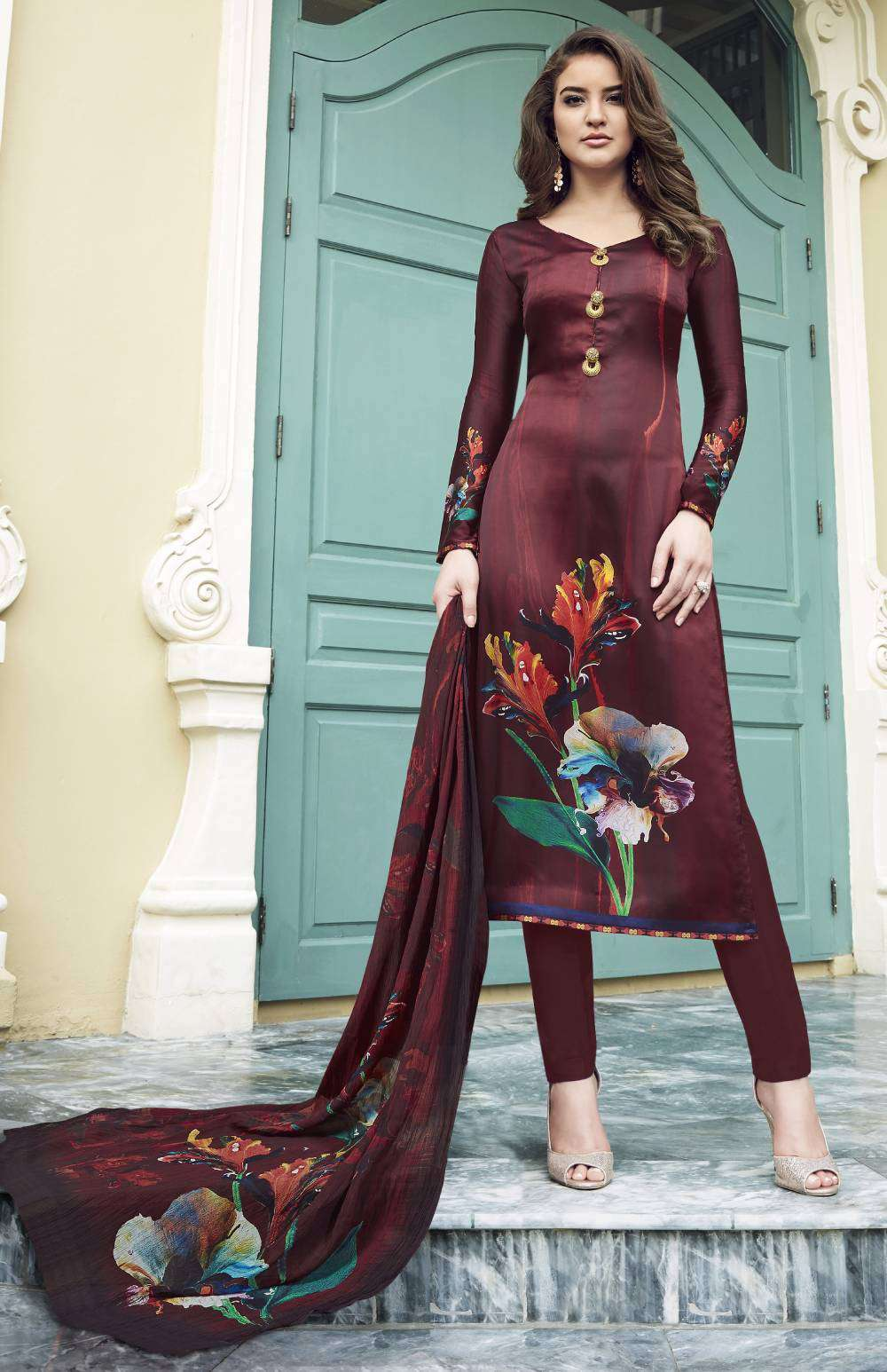 Digital Printed Maroon Colour Satin Salwar Kameez MYSK-1586