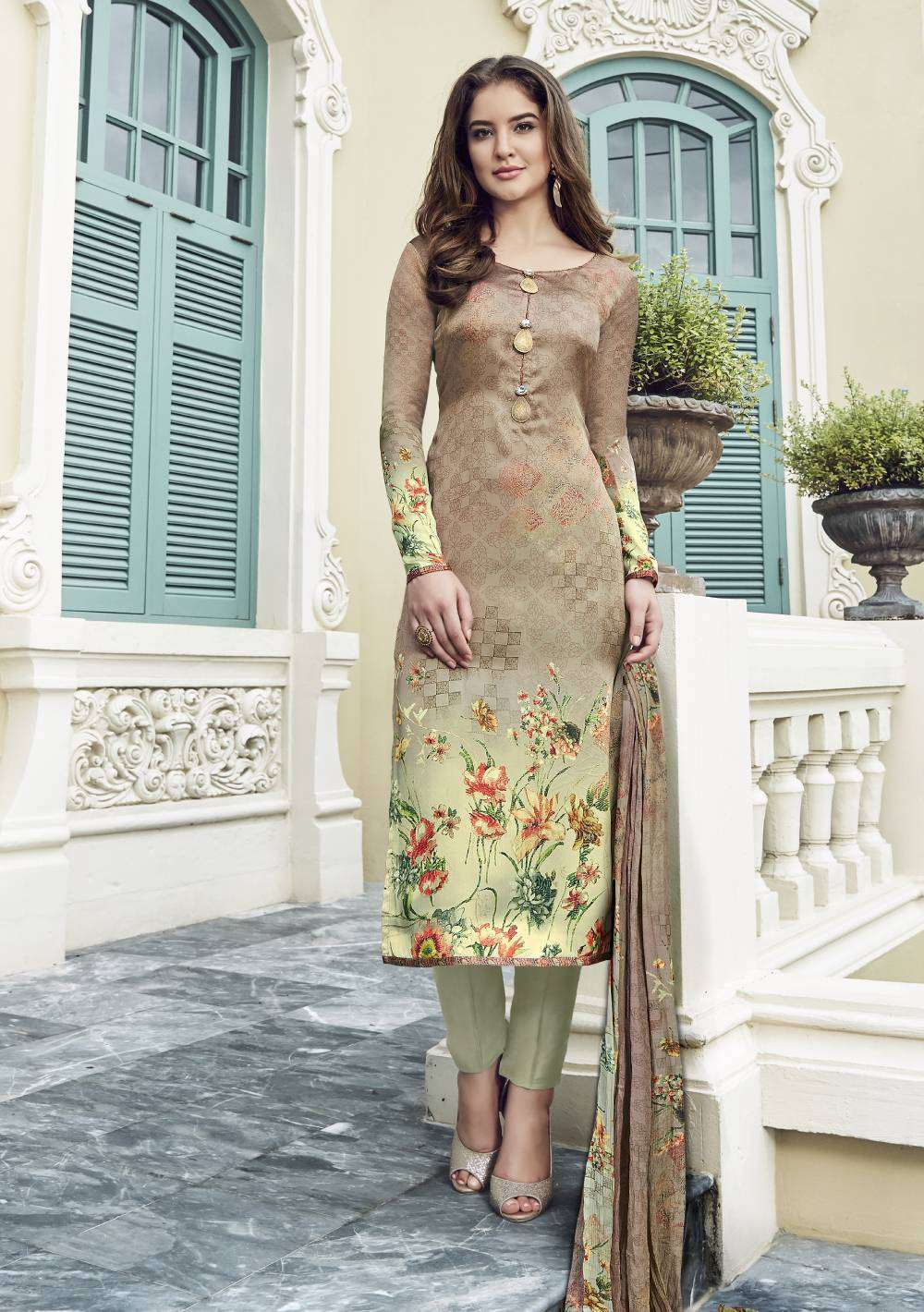 Digital Printed Golden Satin Salwar Kameez MYSK-1593