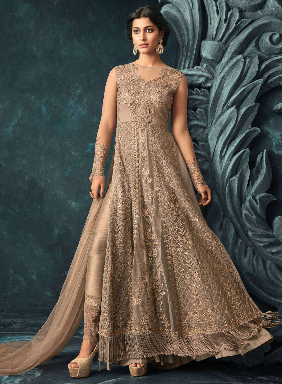 Brown Net And Santoon Designer Gown Style Wear Salwar Kameez MYSK-1603