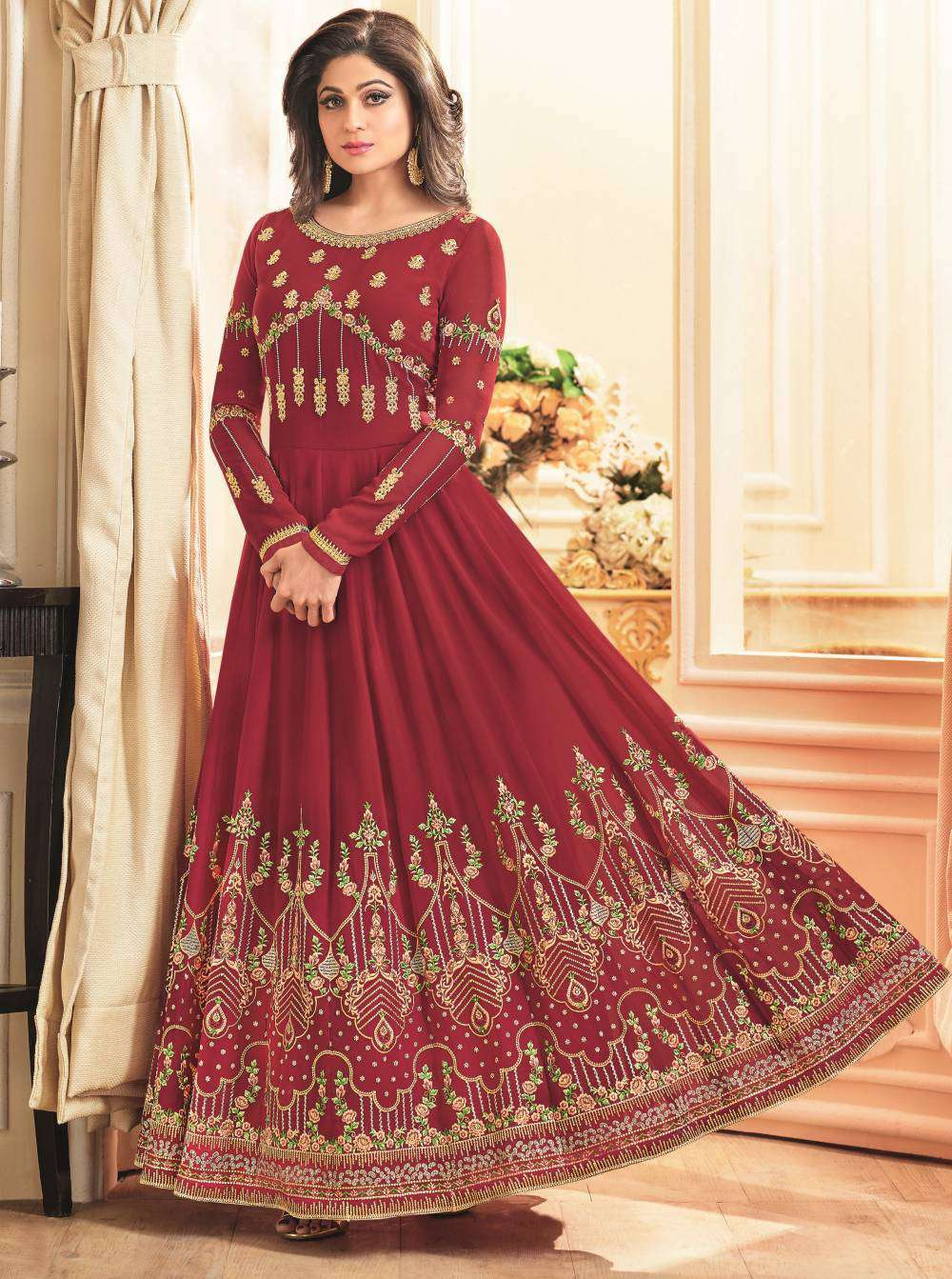 Red Gorgeous Georgette Festive Gown Dress Salwar Kameez MYSK-1613
