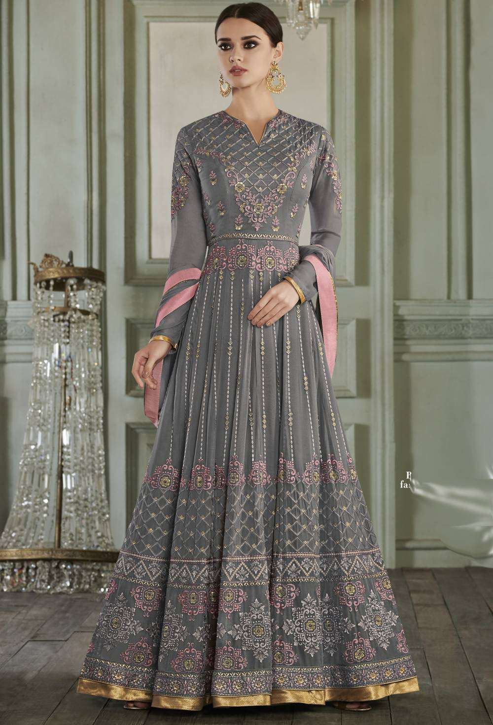 Grey Apple Georgette Long Gown Type Salwar Kameez  MYSK-1619