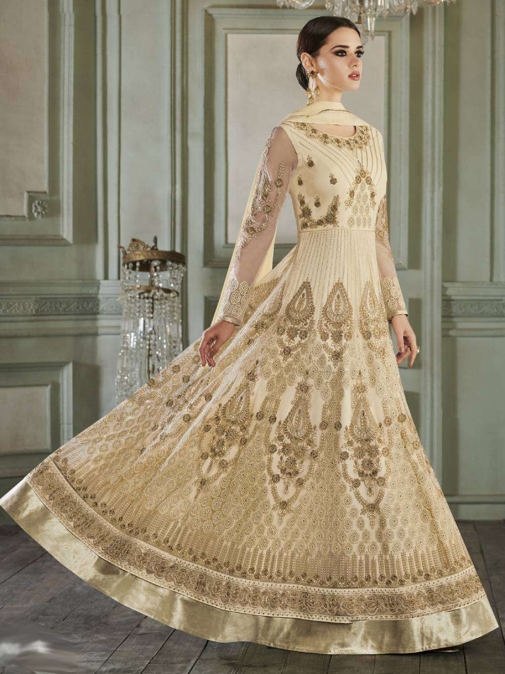 Cream Apple Georgette With Butterfly Mono Net Salwar Kameez  MYSK-1620