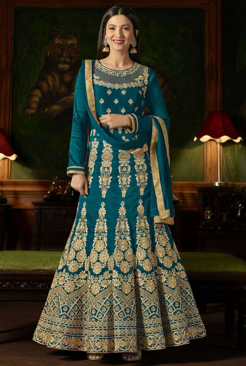 Teal Mulberry Silk With Embroidered Occasional Wear Salwar Kameez MYSK-1625