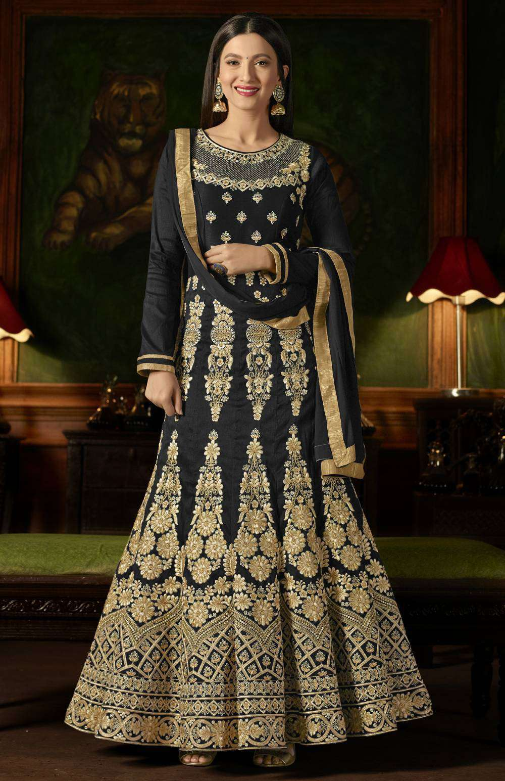 Black Mulberry Silk With Embroidered Occasional Wear Salwar Kameez MYSK-1626