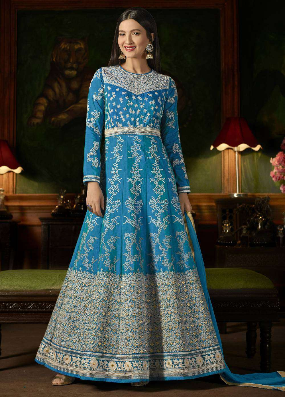 Turquoise Mulberry Silk With Embroidered Occasional Wear Salwar Kameez MYSK-1627