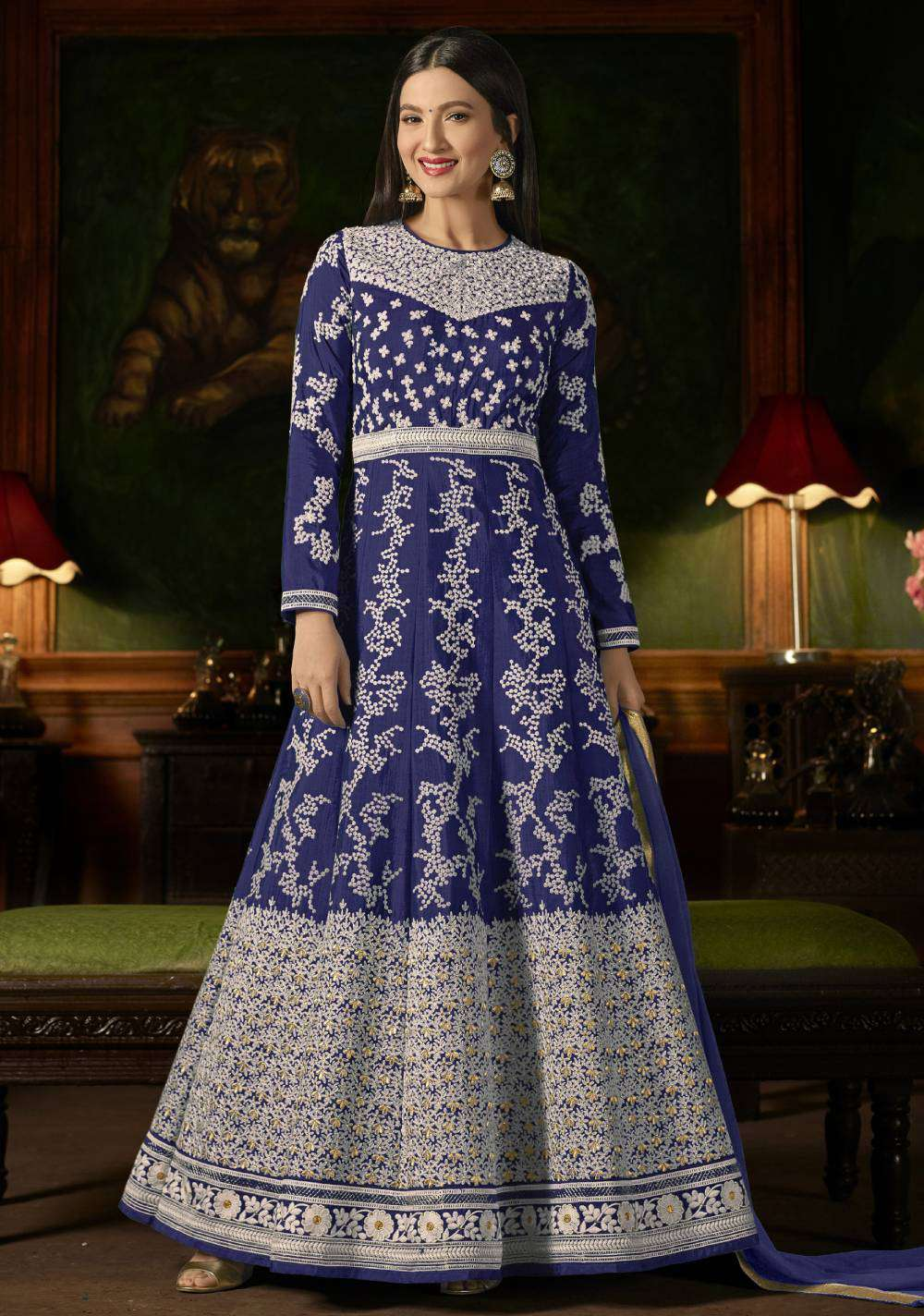 Blue Mulberry Silk With Embroidered Occasional Wear Salwar Kameez MYSK-1629