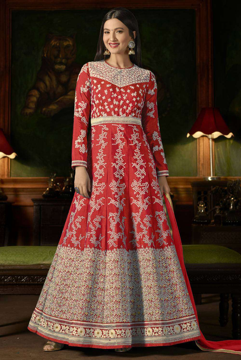 Red Mulberry Silk With Embroidered Occasional Wear Salwar Kameez MYSK-1630