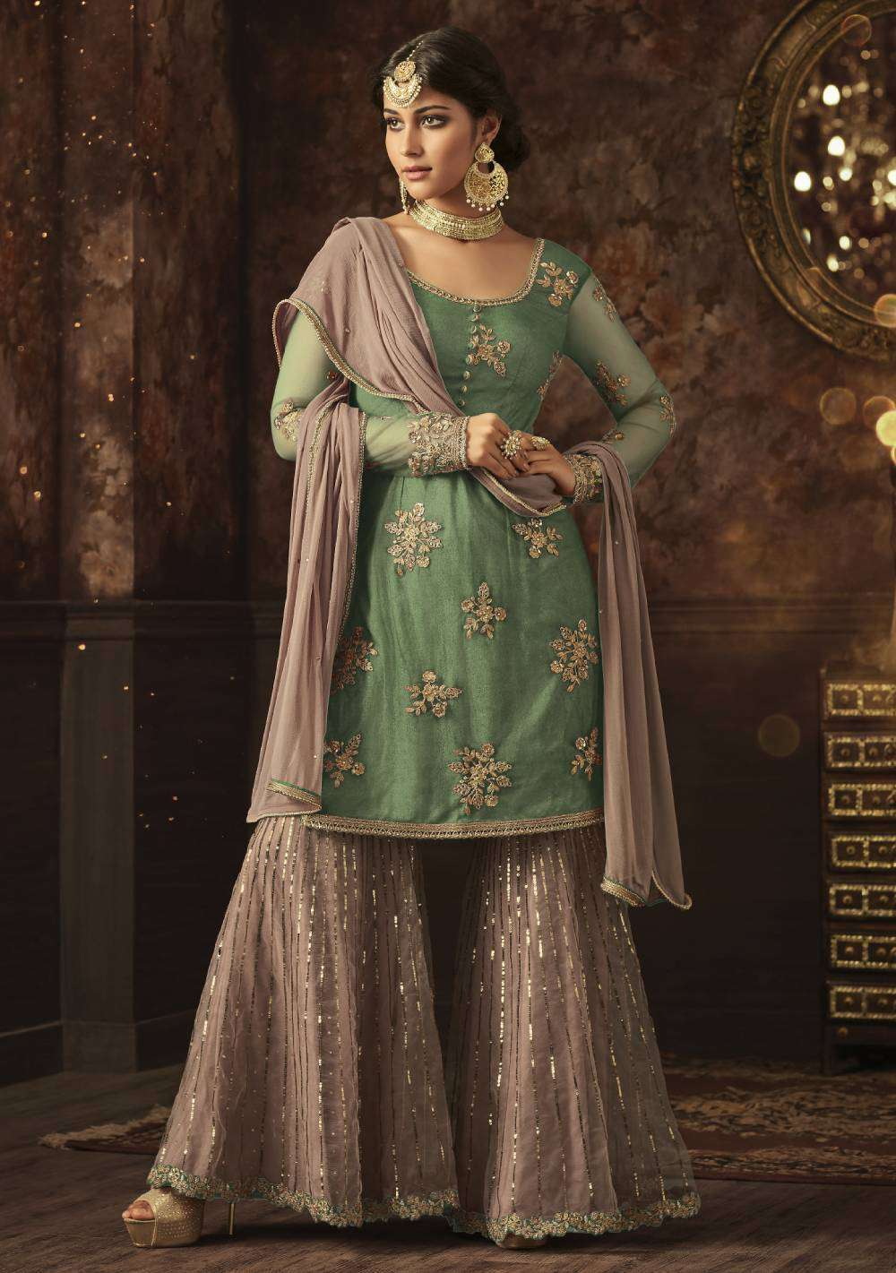 Sea Green Love With Pink Contrast Traditional Embroidered Salwar Kameez MYSK-1634
