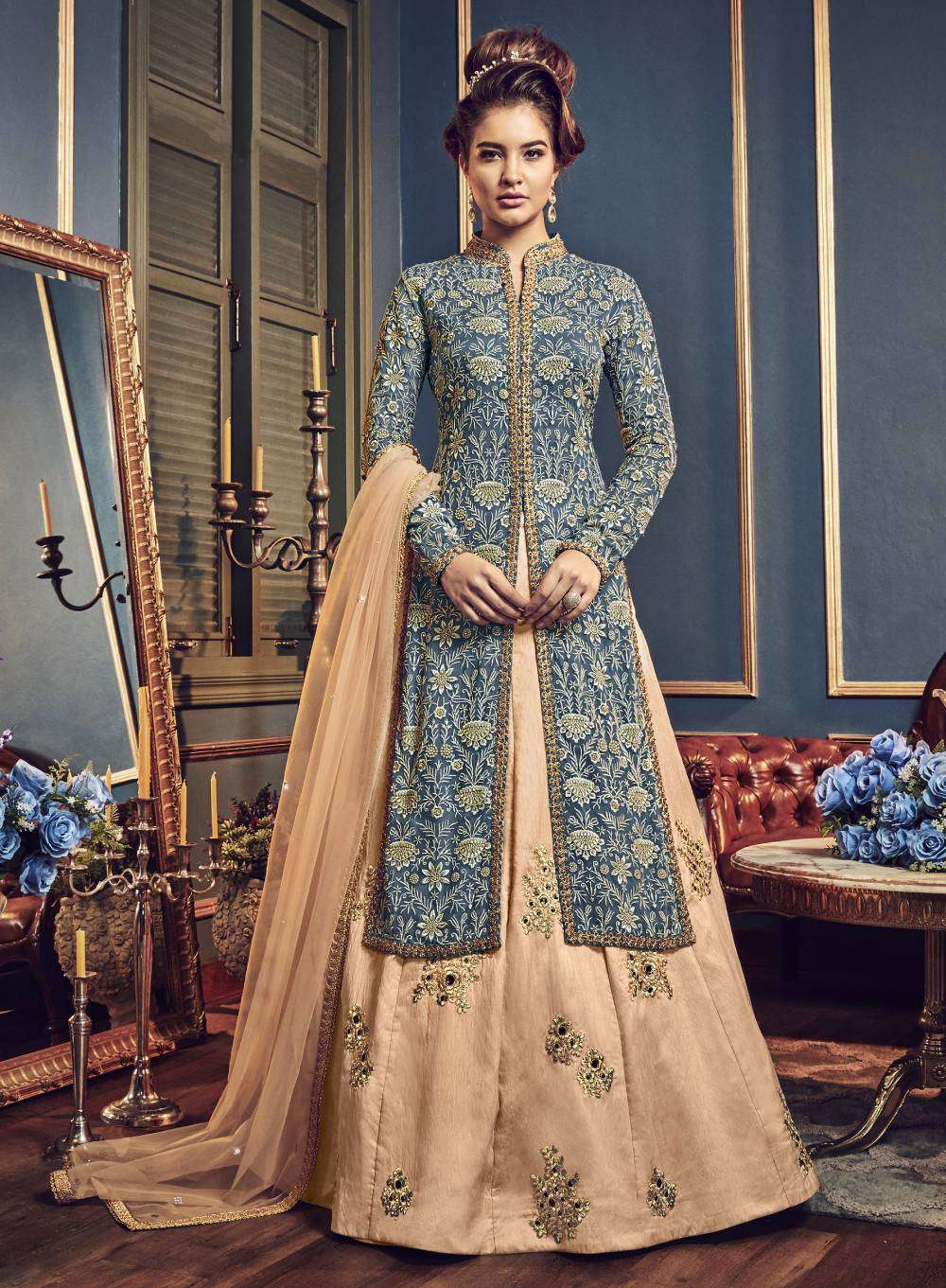 Light-Blue Swiss Georgette Floral Embroidered Salwar Kameez MYSK-1644
