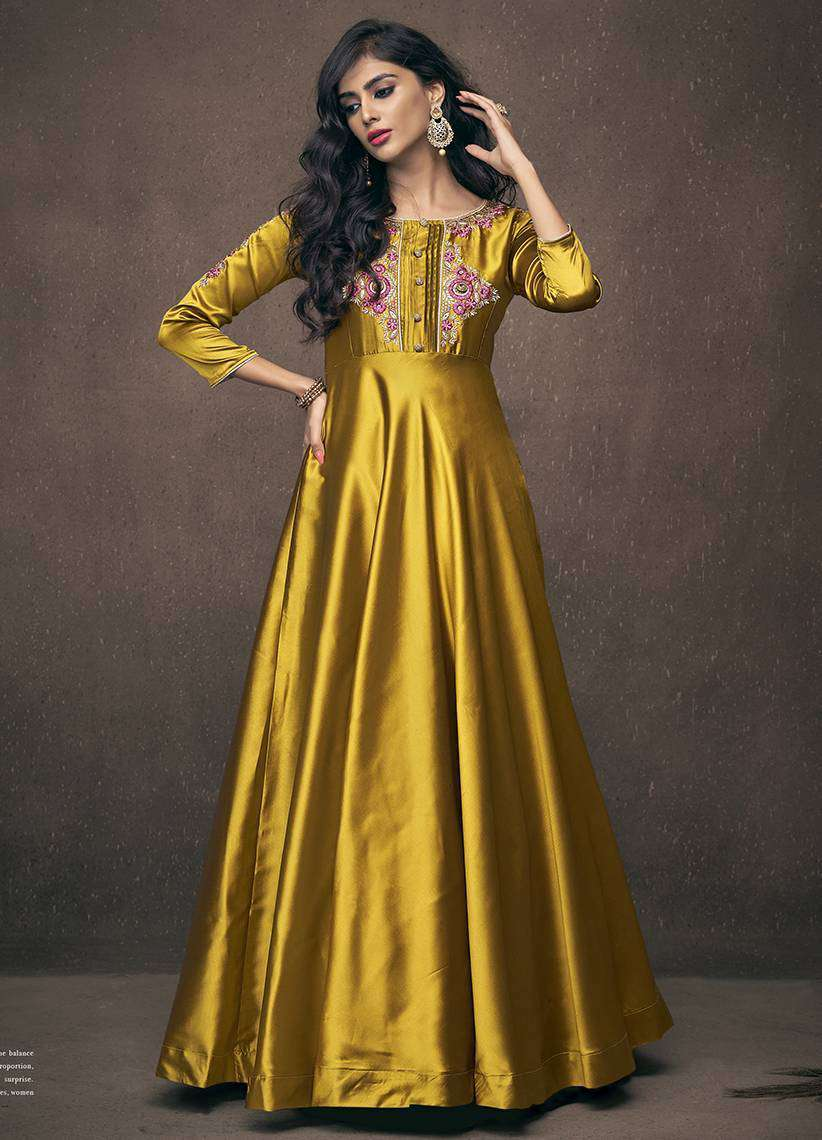 Golden Triva Satin Silk Embroidered Flowing Gown Salwar Kameez MYSK-1669