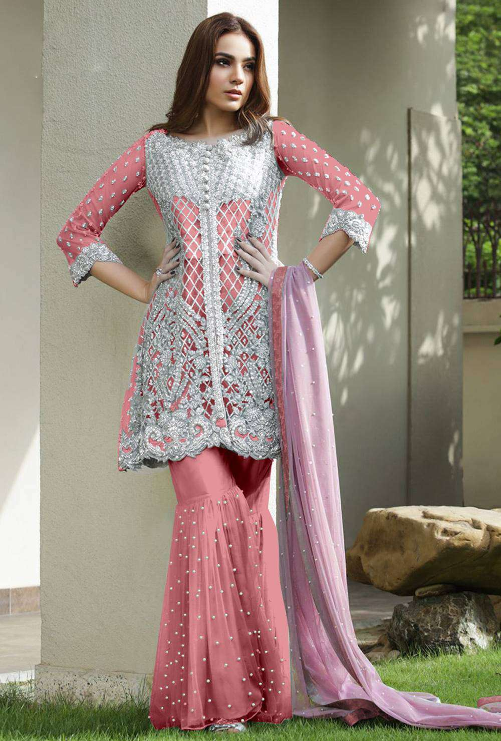 Stylish Flair Baby-Pink Net & Santoon With Embroidered Salwar Kameez MYSK-1693