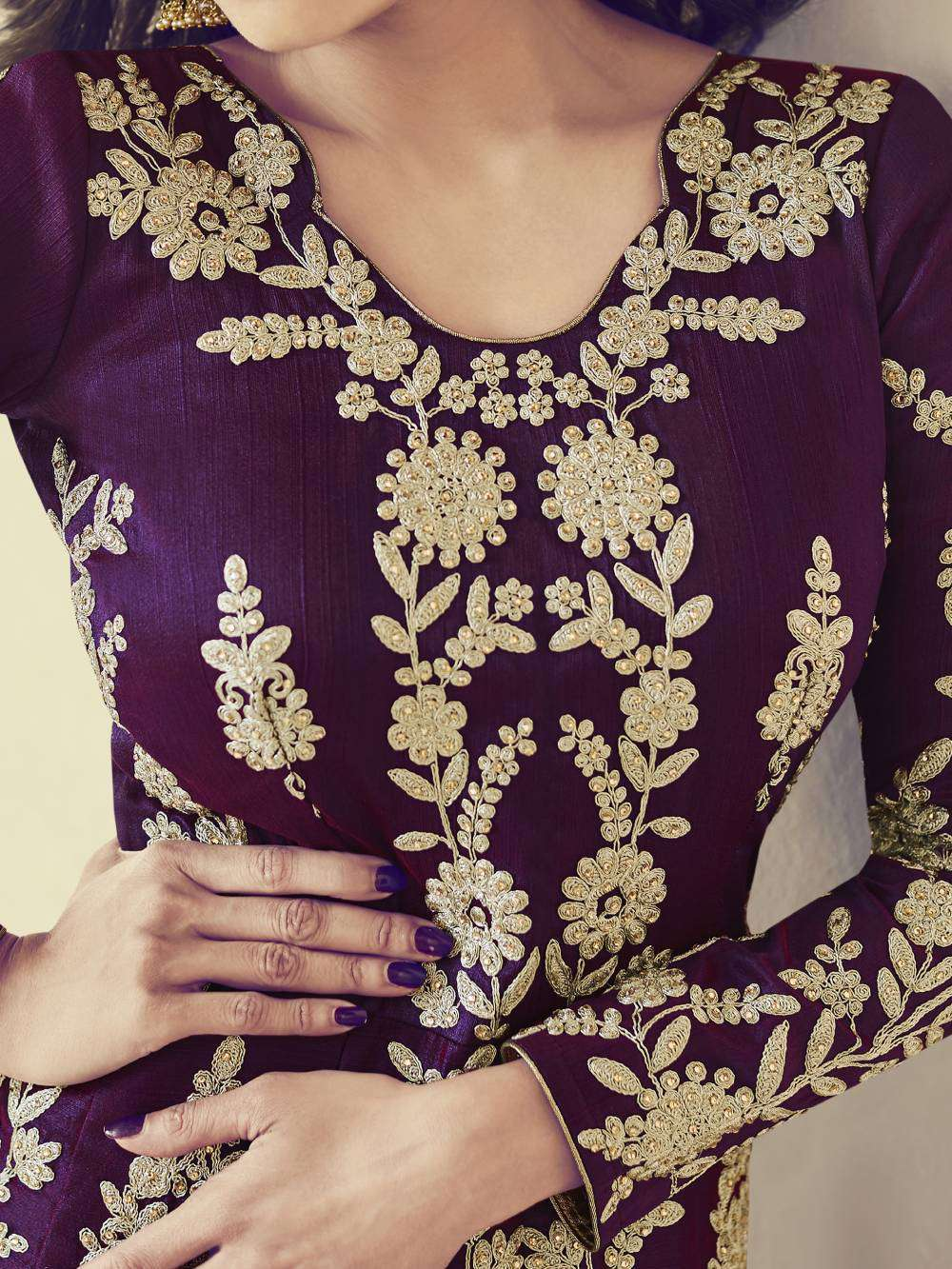 Stylish Dark-Pruple Royal Silk Party Wear With Embroidered Salwar Kameez MYSK-1698