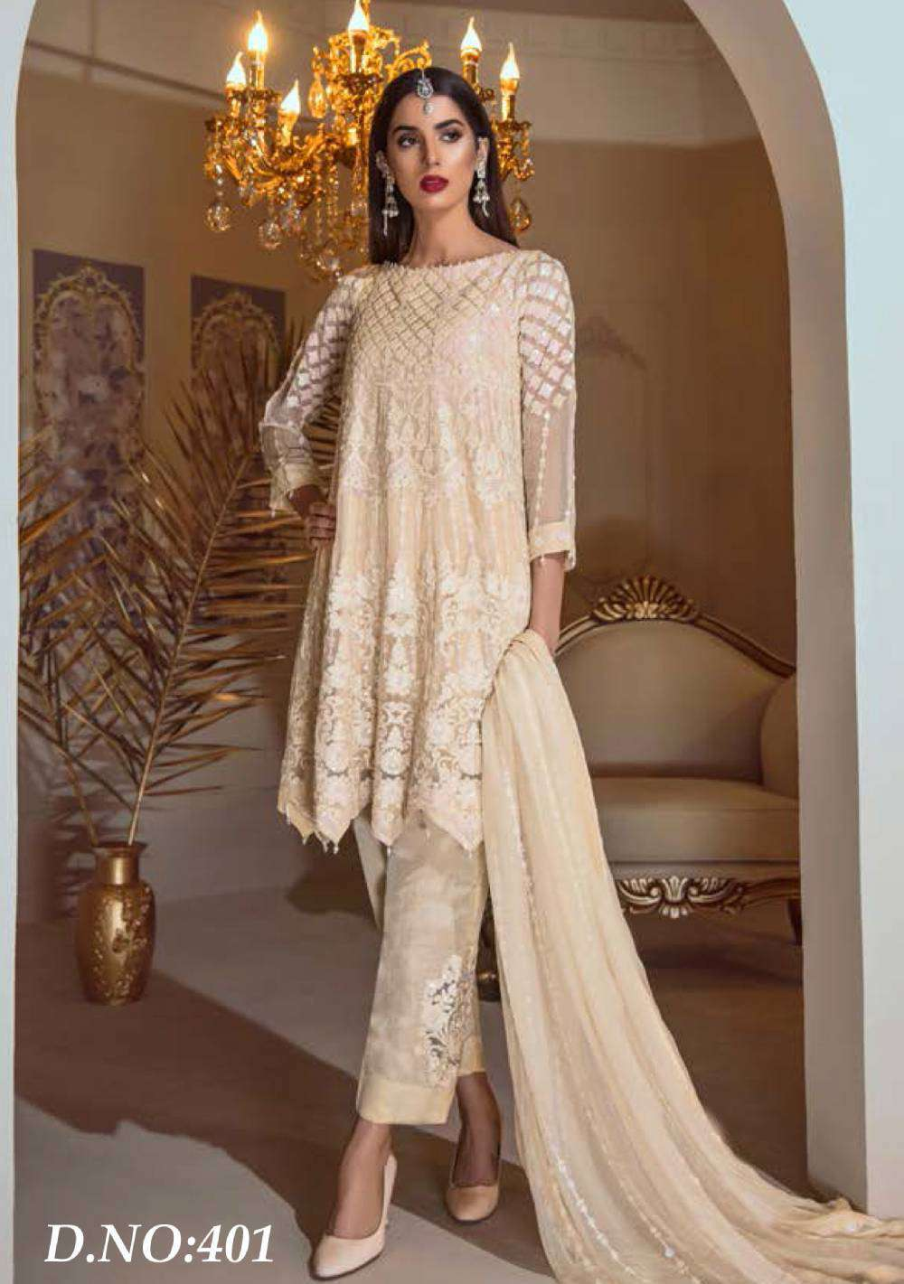 Casual Wear Beige Georgette Fabric With Embroidered Salwar Kameez MYSK-1701