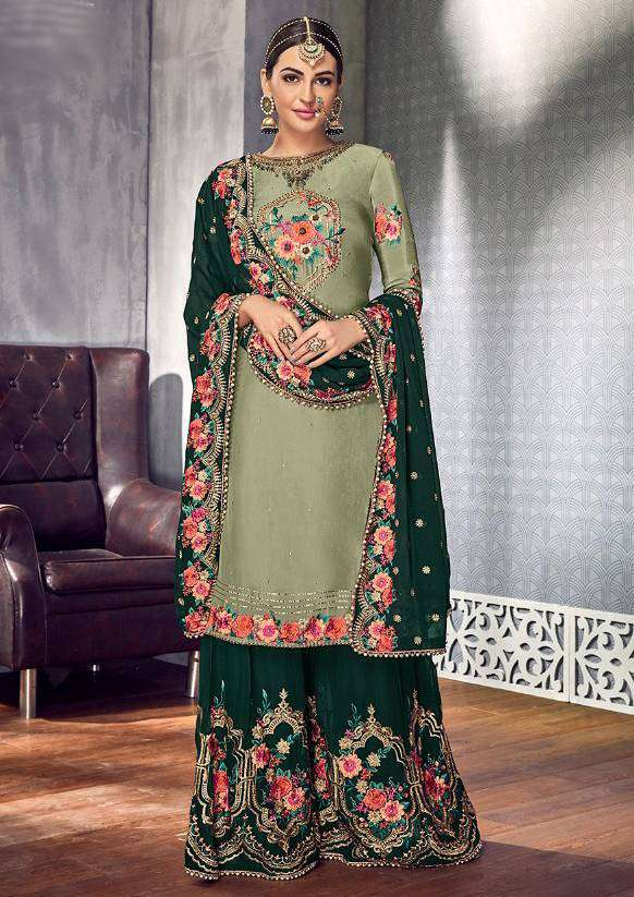 Green Georgette Embroidered And Khatli Work Palazzo Salwar Kameez MYSK-1728