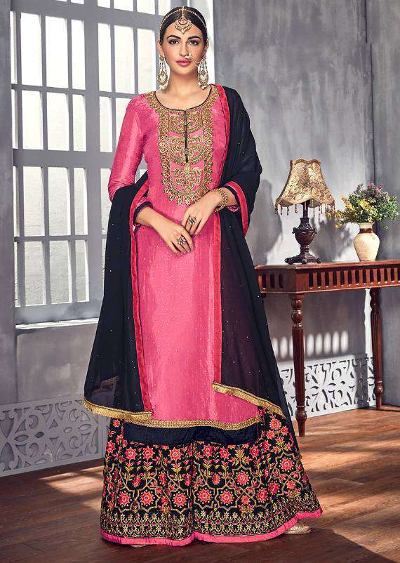 Pink Georgette Embroidered And Khatli Work Palazzo Salwar Kameez MYSK-1729