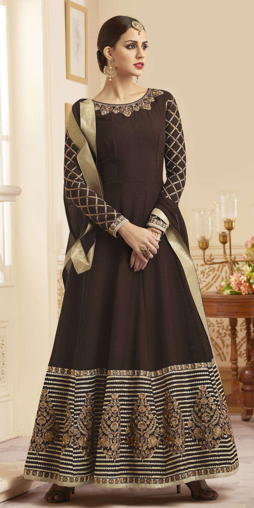 Unique Brown Embroidered Anarkali Salwar Kameez MYSK-174