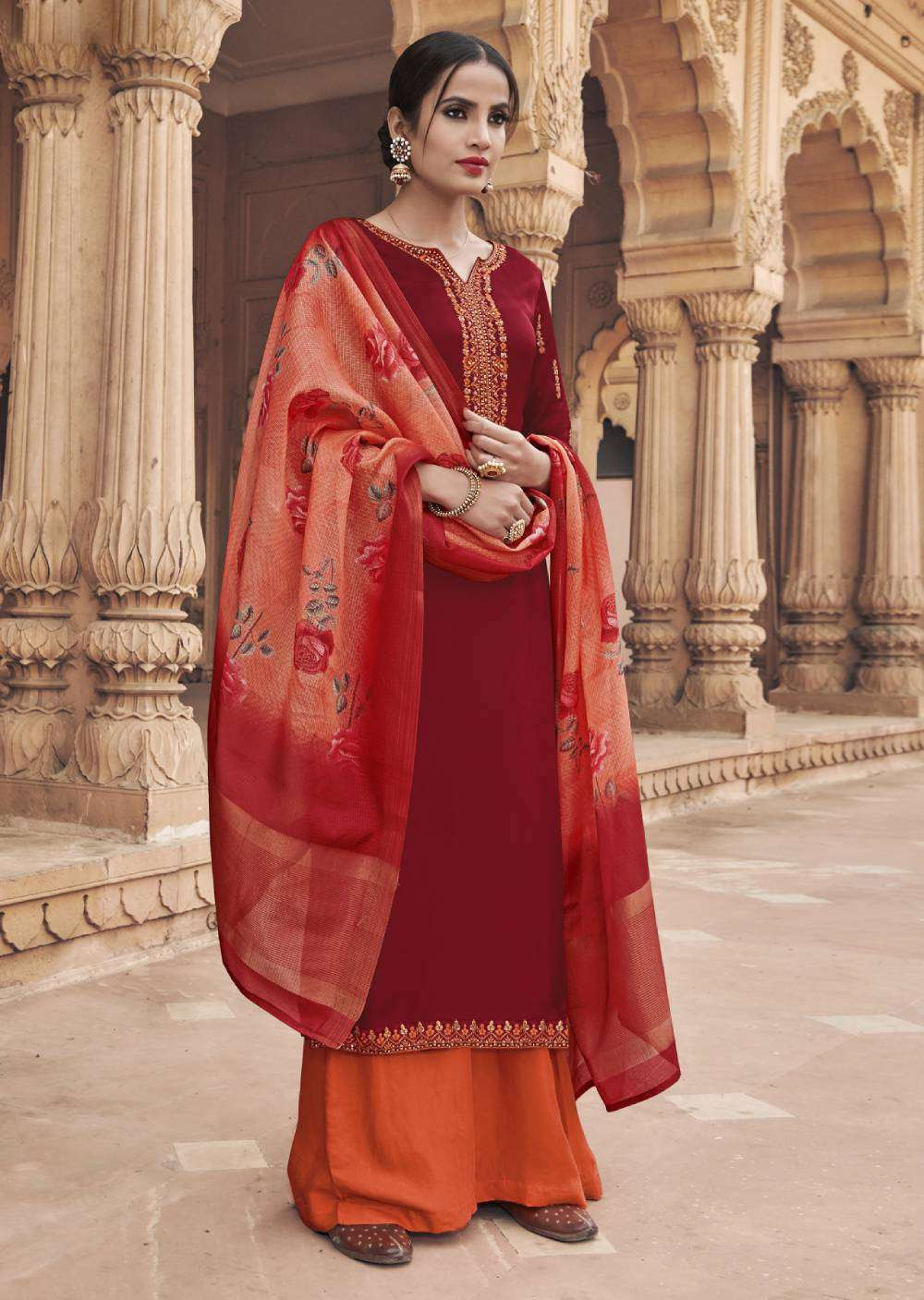 Georgette Satin Fabric Straight-Cut With Embroidered Design Salwar Kameez MYSK-1770