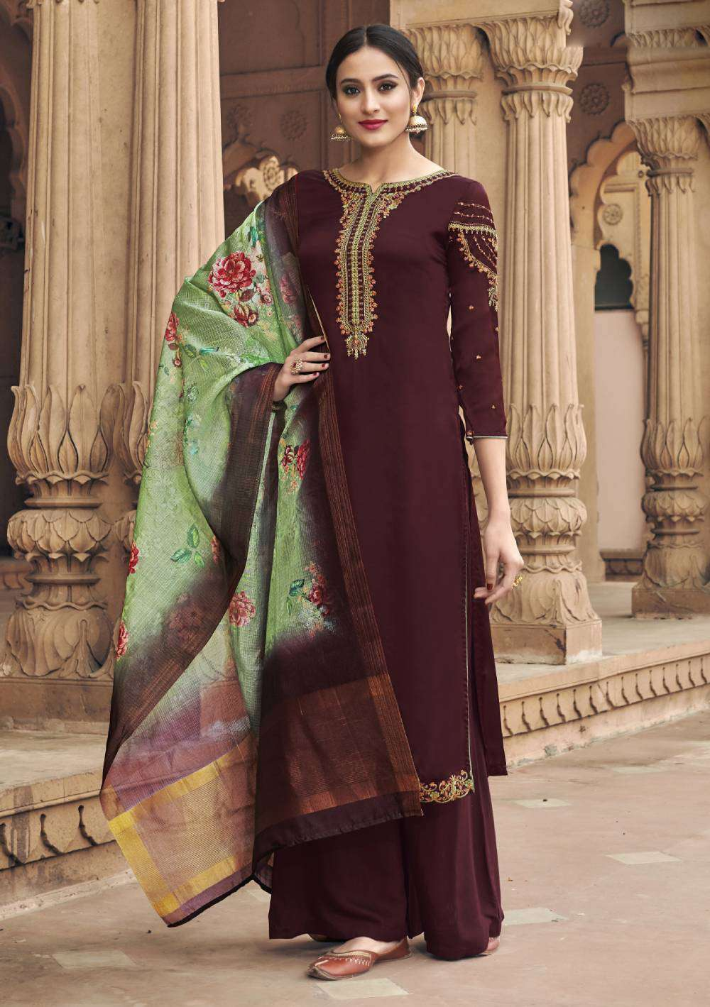 Brown Georgette Satin Fabric Straight-Cut With Embroidered Salwar Kameez MYSK-1774