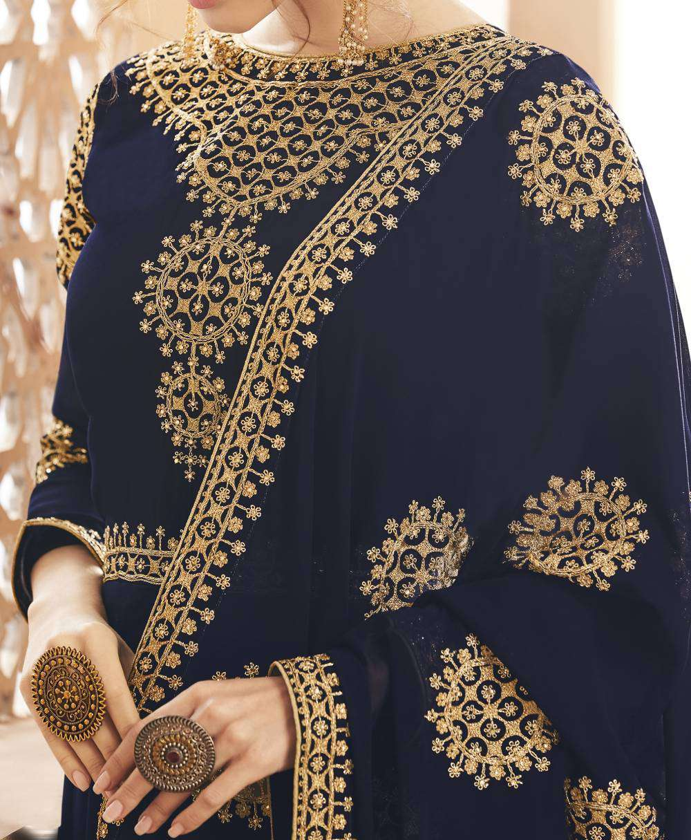 Navy-Blue Georgette Flowing Gown Embroidered Salwar Kameez MYSK-1776