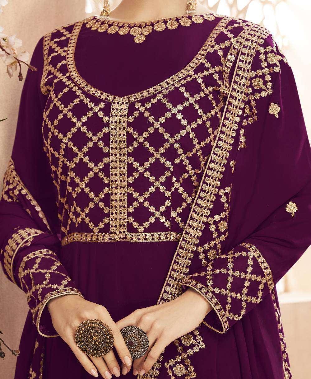 Purple Georgette Flowing Gown Embroidered Salwar Kameez MYSK-1778