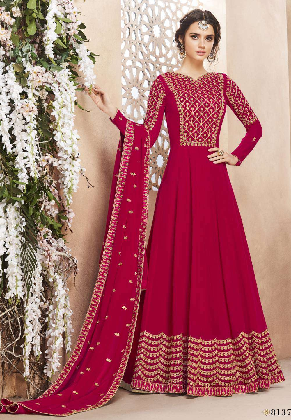 Rose-Pink Georgette Flowing Gown Embroidered Salwar Kameez MYSK-1780