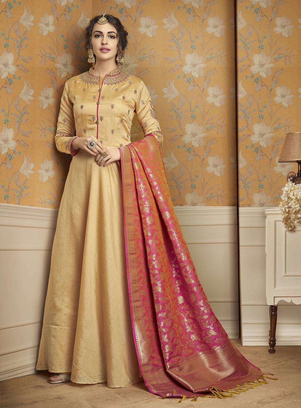 Yellow Tussar Satin Gown With Banarsi Dupatta Salwar Kameez MYSK-1786