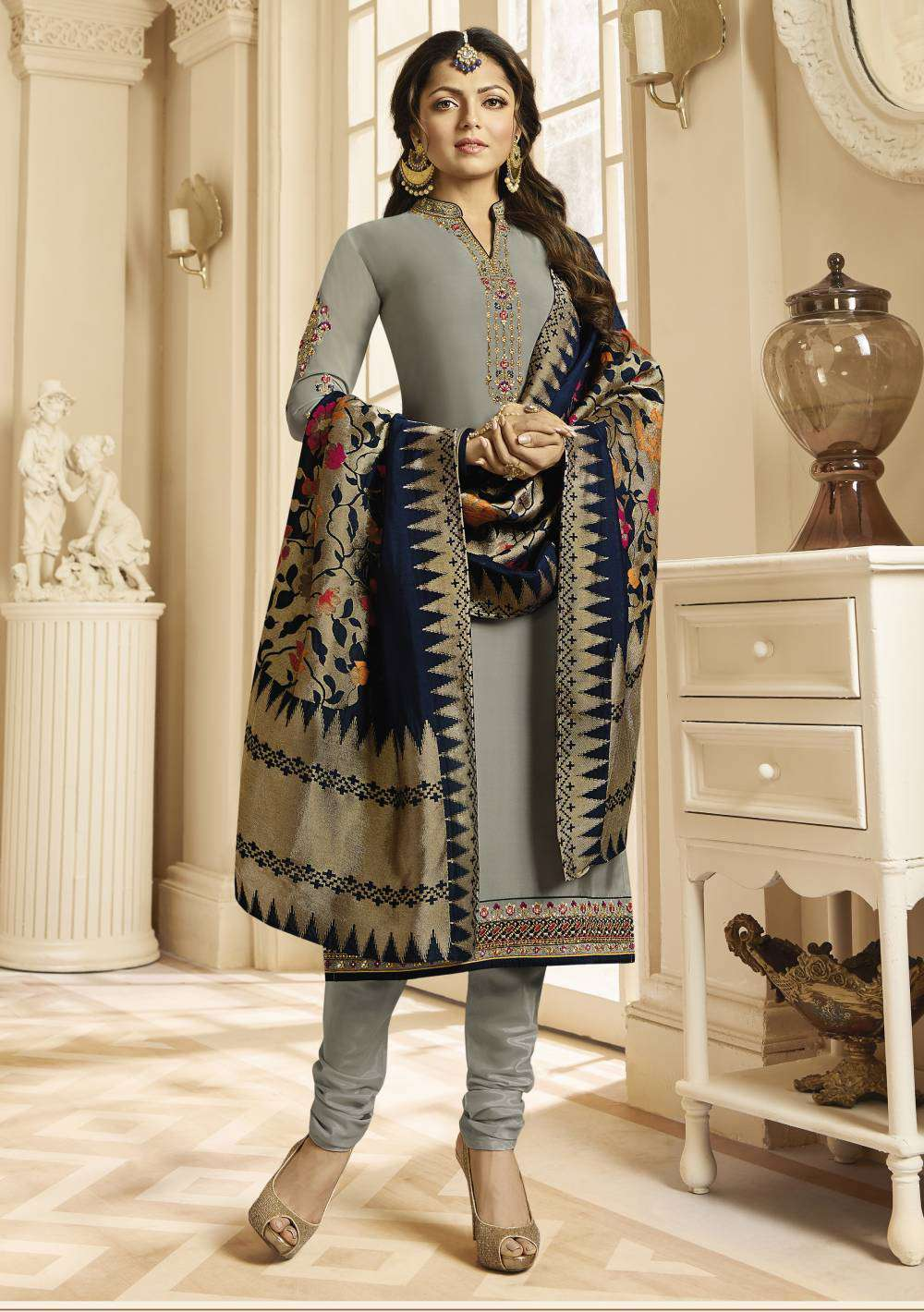 Grey Georgette Satin With Churider Style Salwar Kameez MYSK-1798