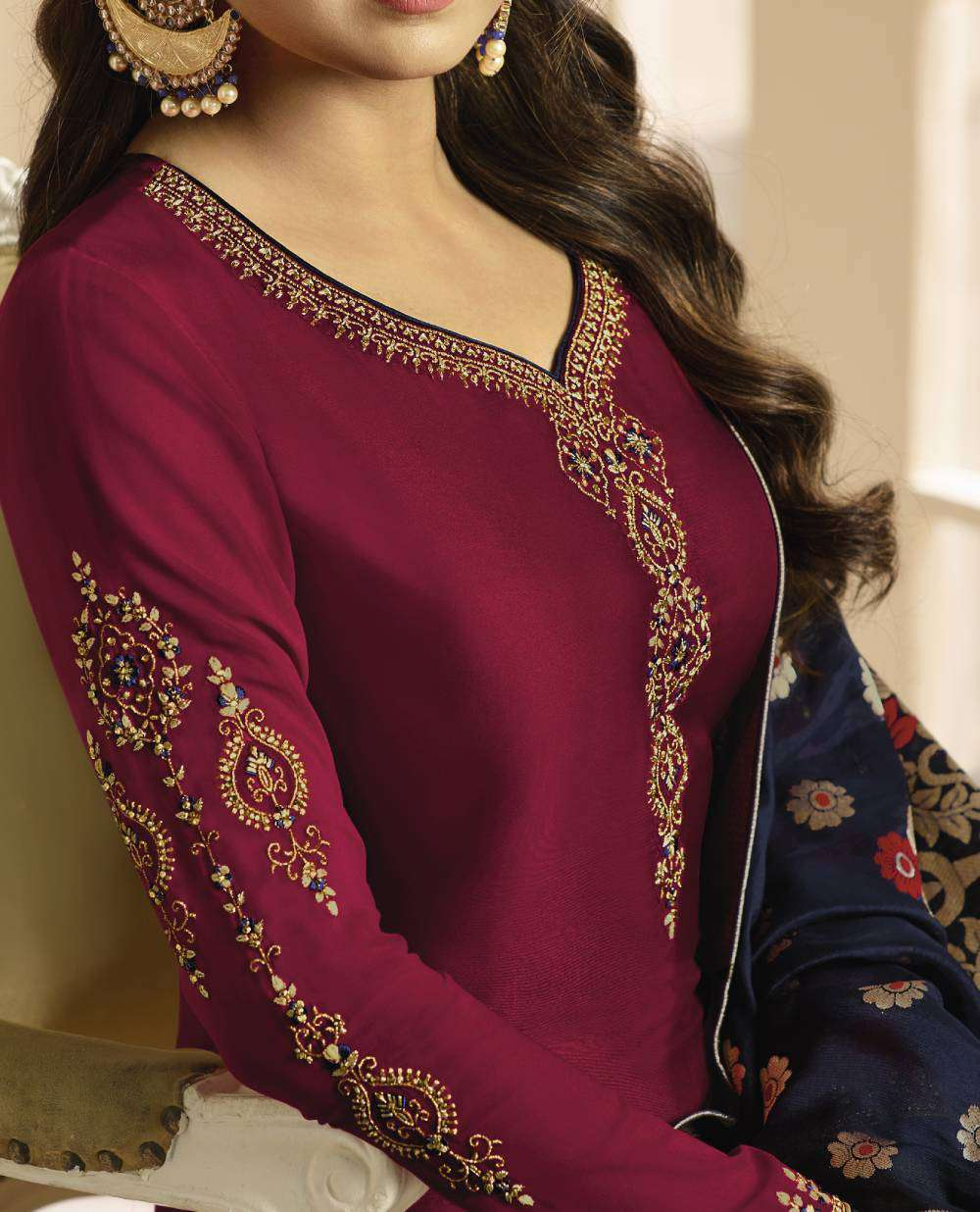 Maroon Georgette Satin With Churider Style Salwar Kameez MYSK-1800