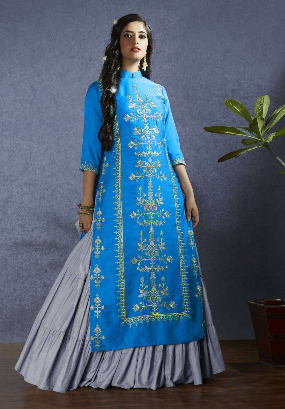 Blue Modal Satin Fabric Fancy Embroidery Salwar Kameez MYSK-1825