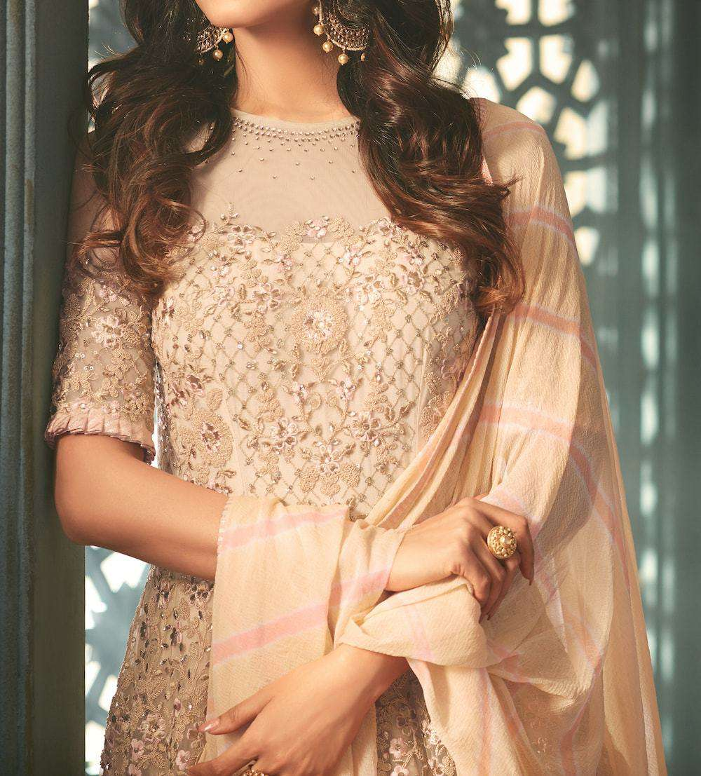 Classic Cream Embroidered Anarkali Salwar Kameez MYSK-183