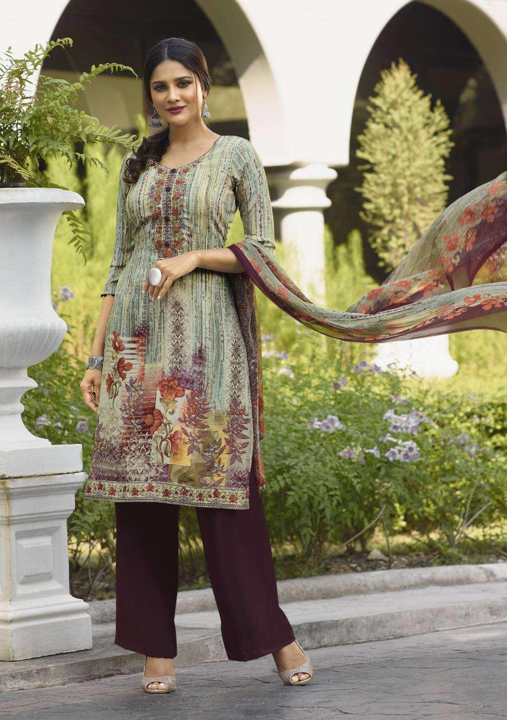 Purple-Green Premium Crepe Embroidered Casual Wear Salwar Kameez MYSK-1834