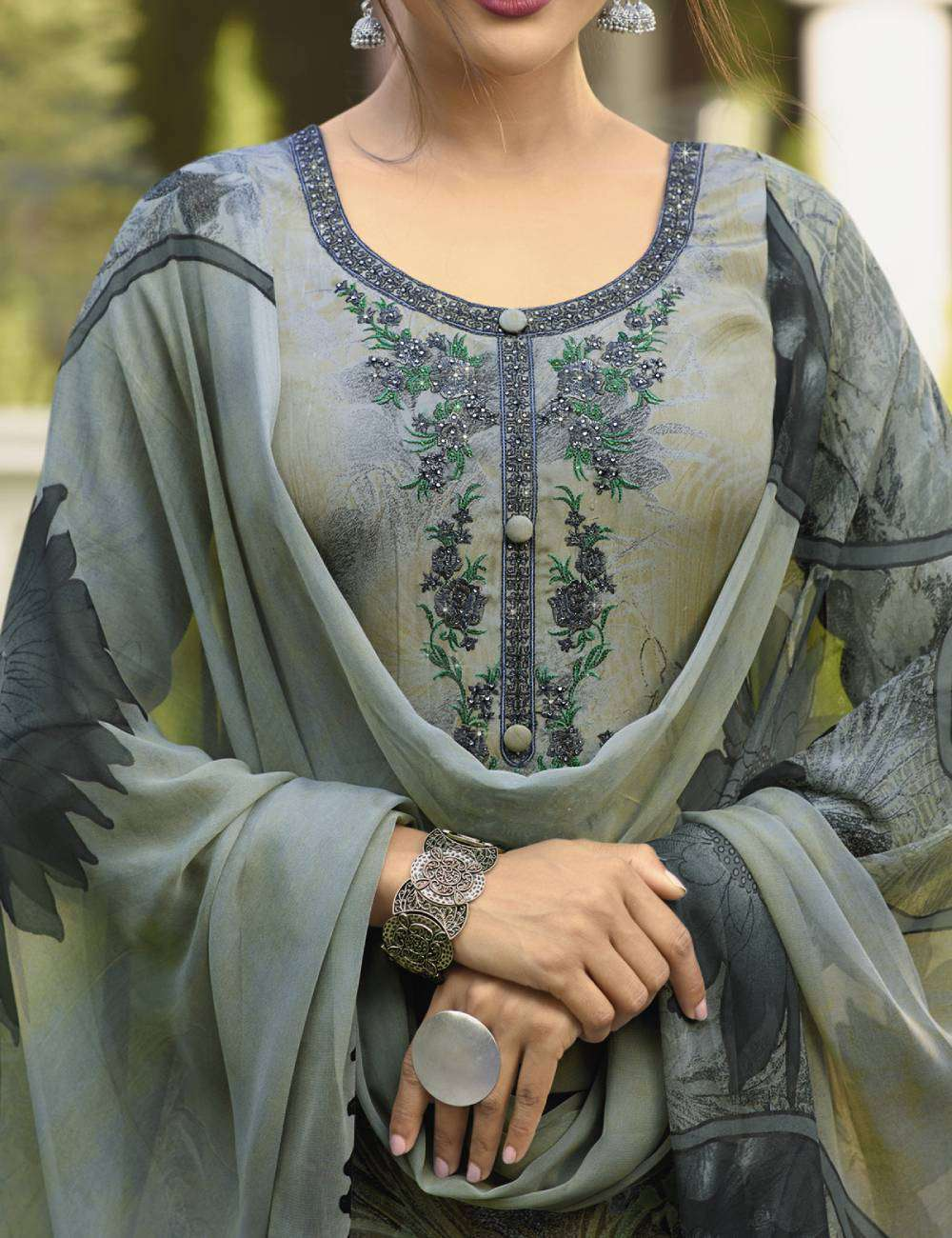 Sea-Green Premium Crepe Embroidered Casual Wear Salwar Kameez MYSK-1838