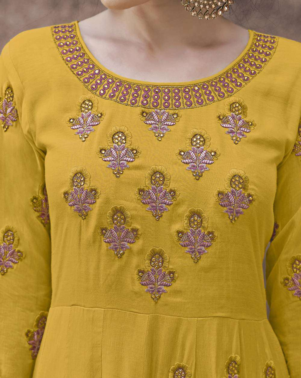 Yellow Heavy Rayon Fabric Gown Designer Embroidered Salwar Kameez MYSK-1853
