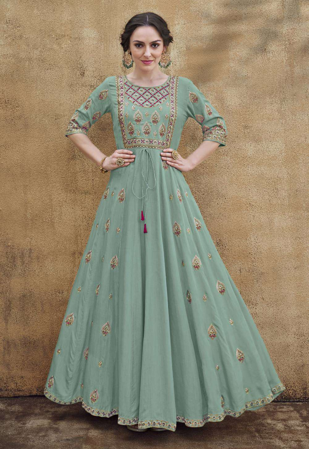 Sea-Green Heavy Rayon Fabric Gown Designer Embroidered Salwar Kameez MYSK-1854