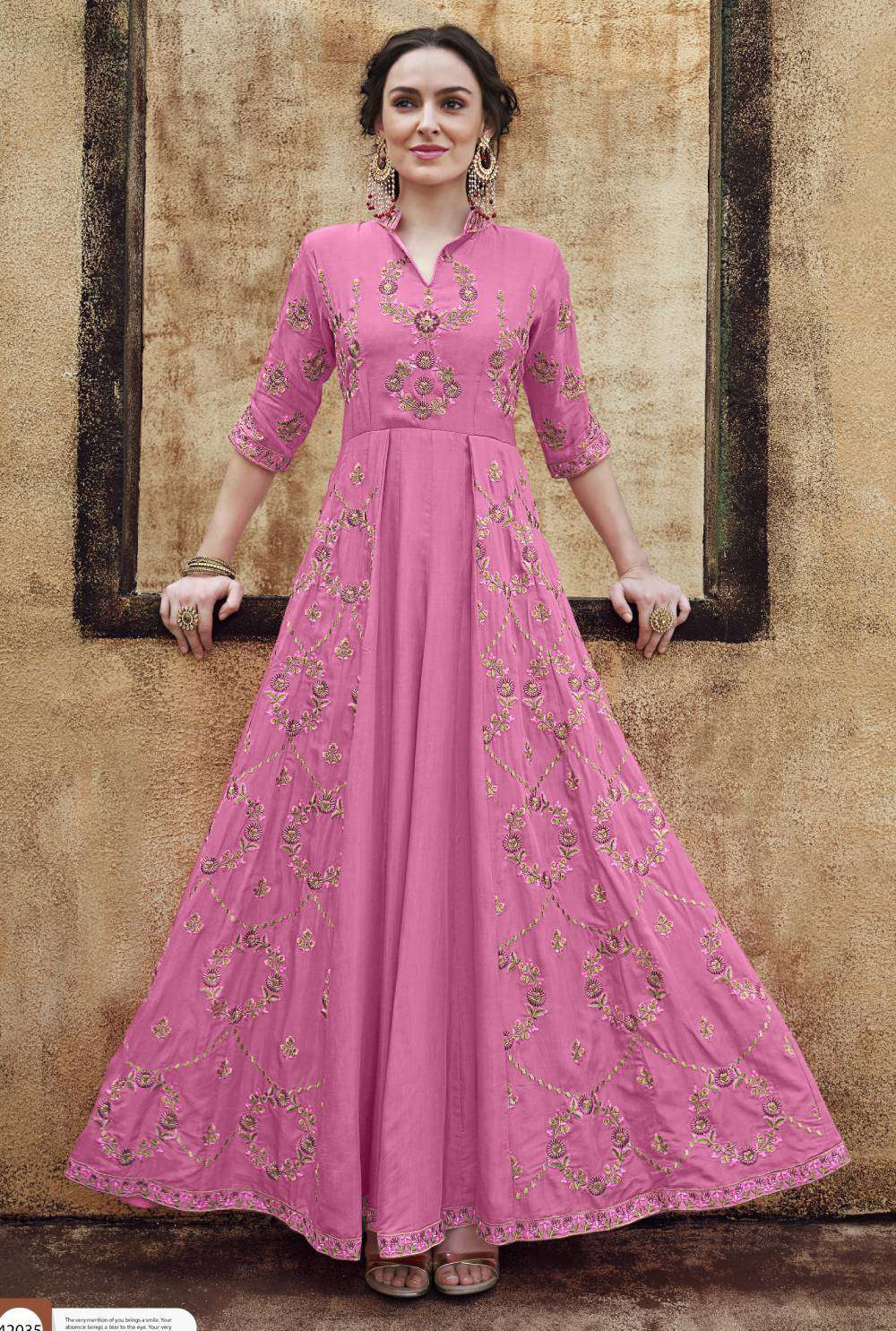 Pink Heavy Rayon Fabric Gown Designer Embroidered Salwar Kameez MYSK-1855
