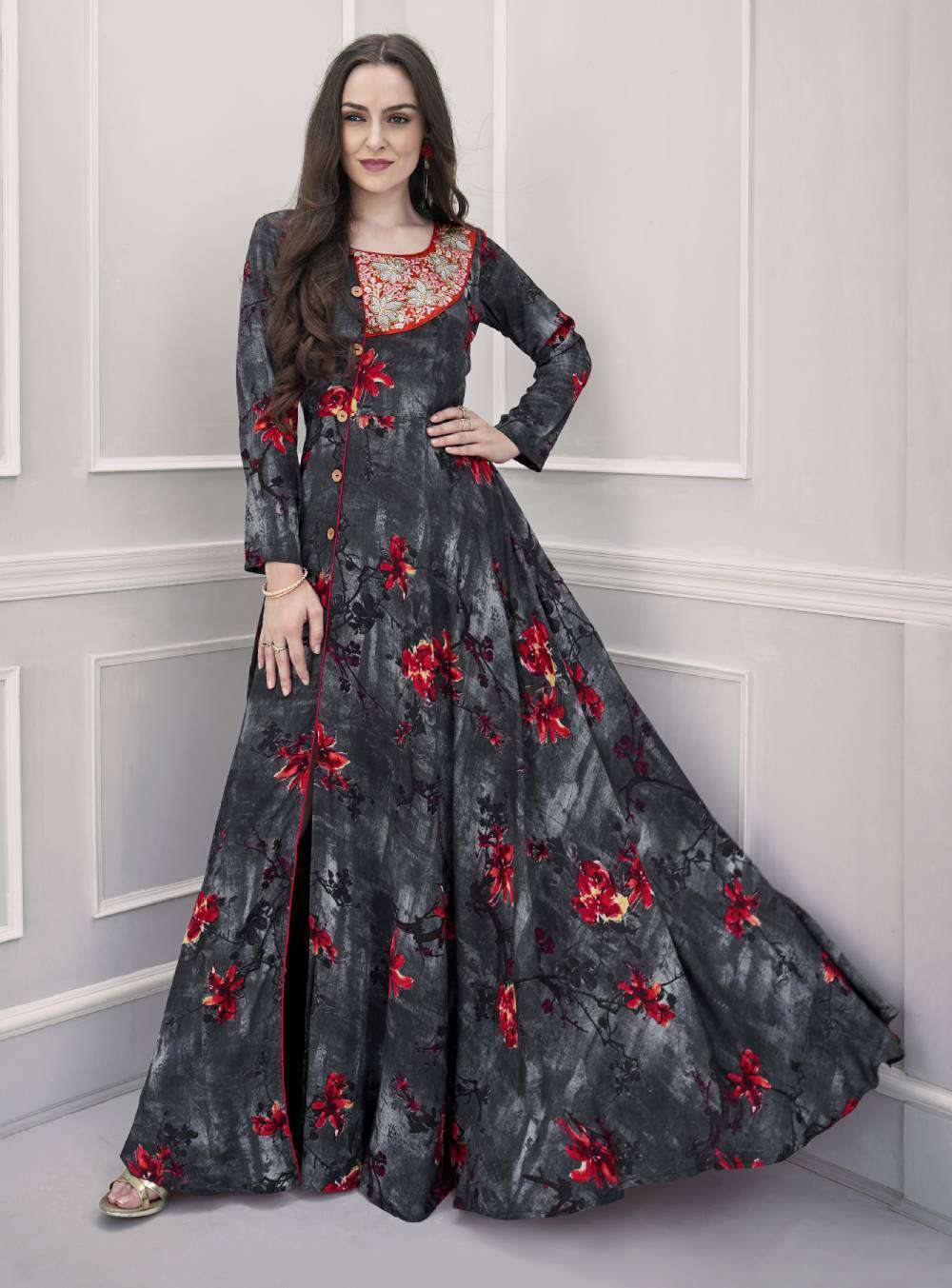Grey Printed Rayon Long Flair Gown Embroidered Salwar Kameez MYSK-1881