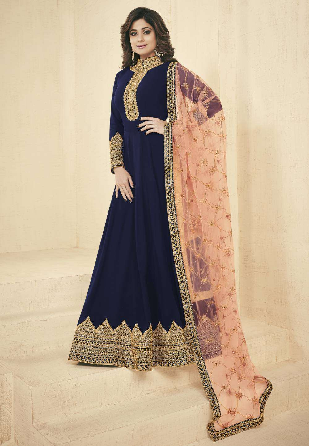 Navy-Blue Real Georgette Gown Design With Embroidered Salwar Kameez MYSK-1889