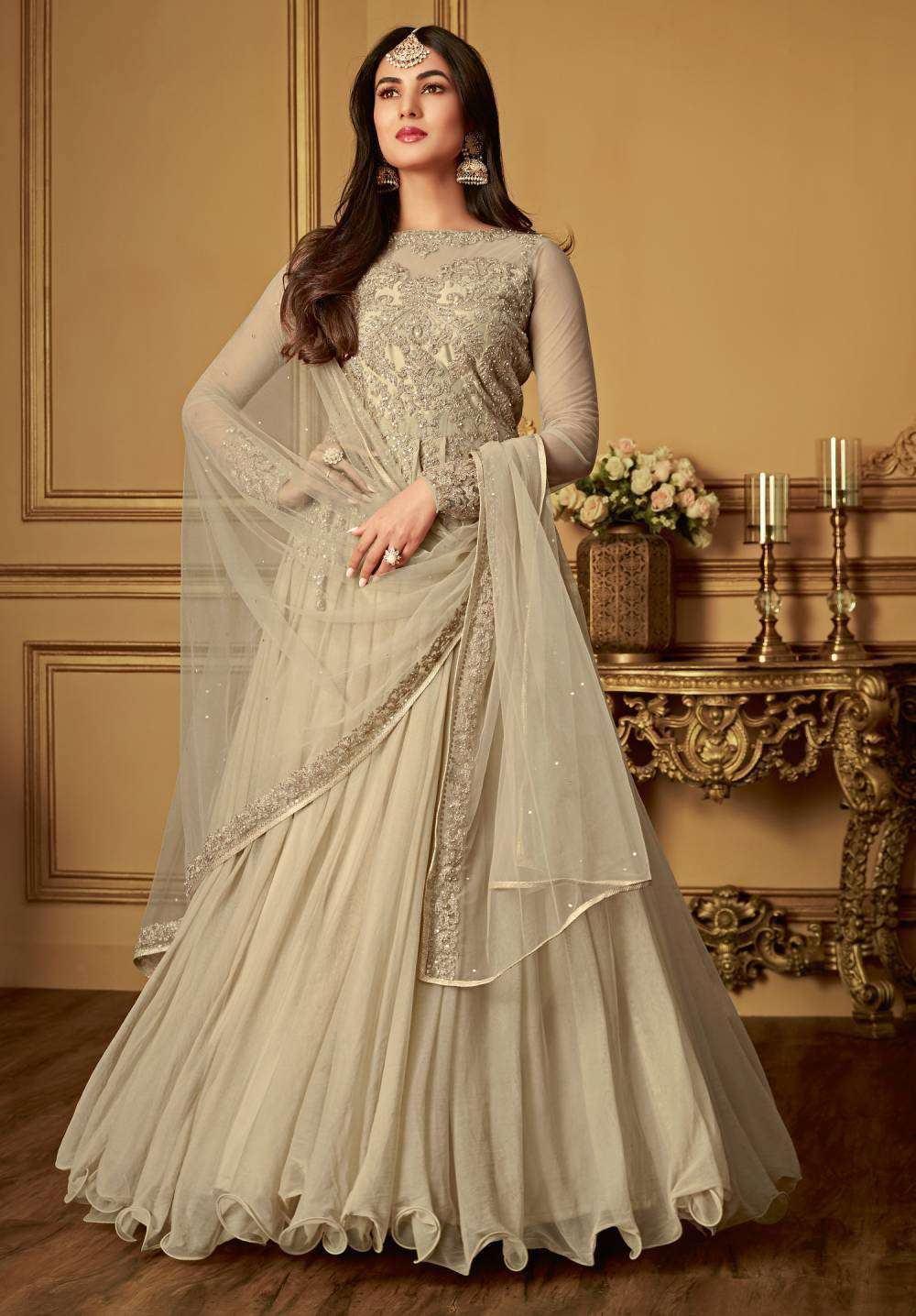 Slit Style Beige Net & Satin With Embroidered Salwar Kameez MYSK-1900