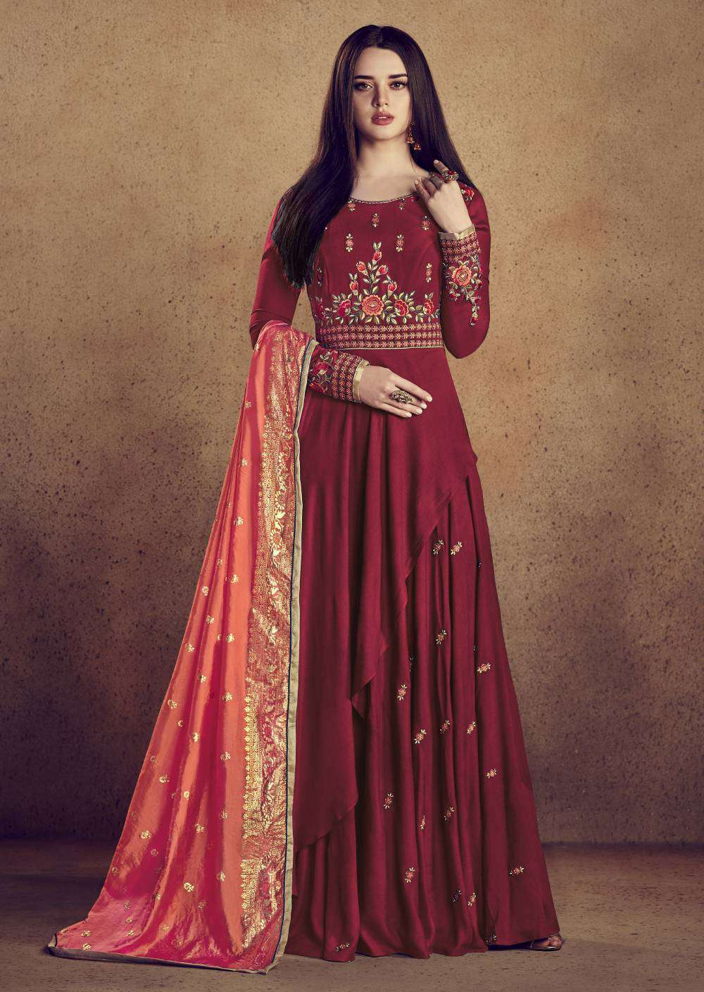 Red Rayon Designer Full Flair Gown Style Embroidered Salwar Kameez MYSK-1927
