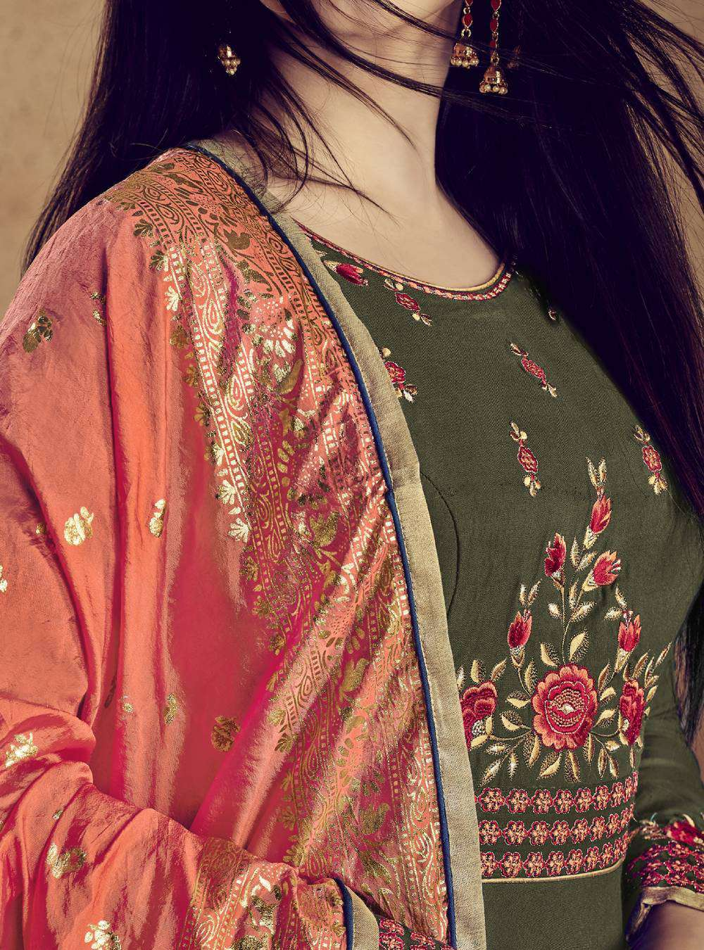 Henna Rayon Designer Full Flair Gown Style With Embroidered Salwar Kameez MYSK-1929