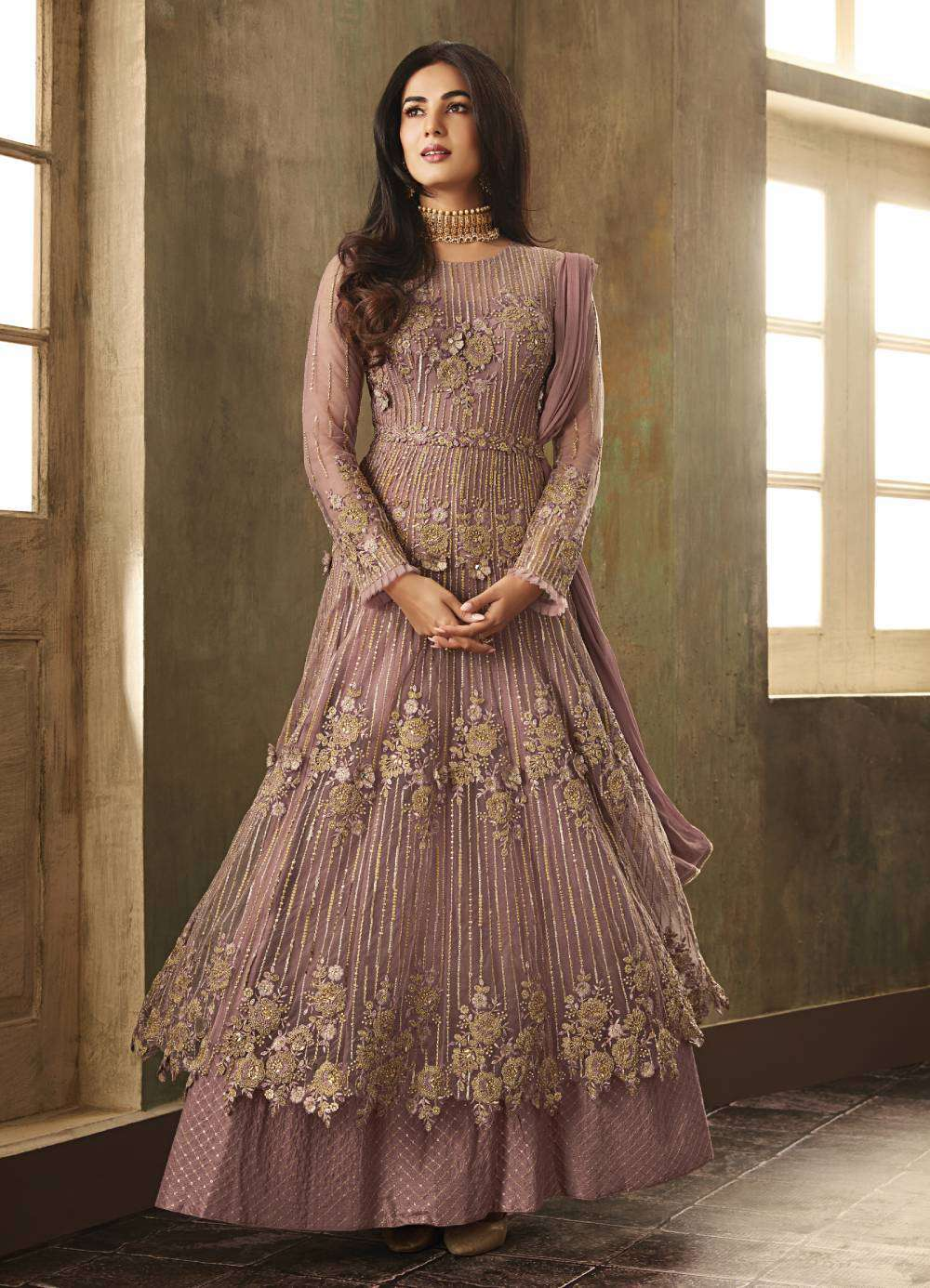 Light-Purple Net Party-Wear Designer With Embroidered Salwar Kameez MYSK-1954