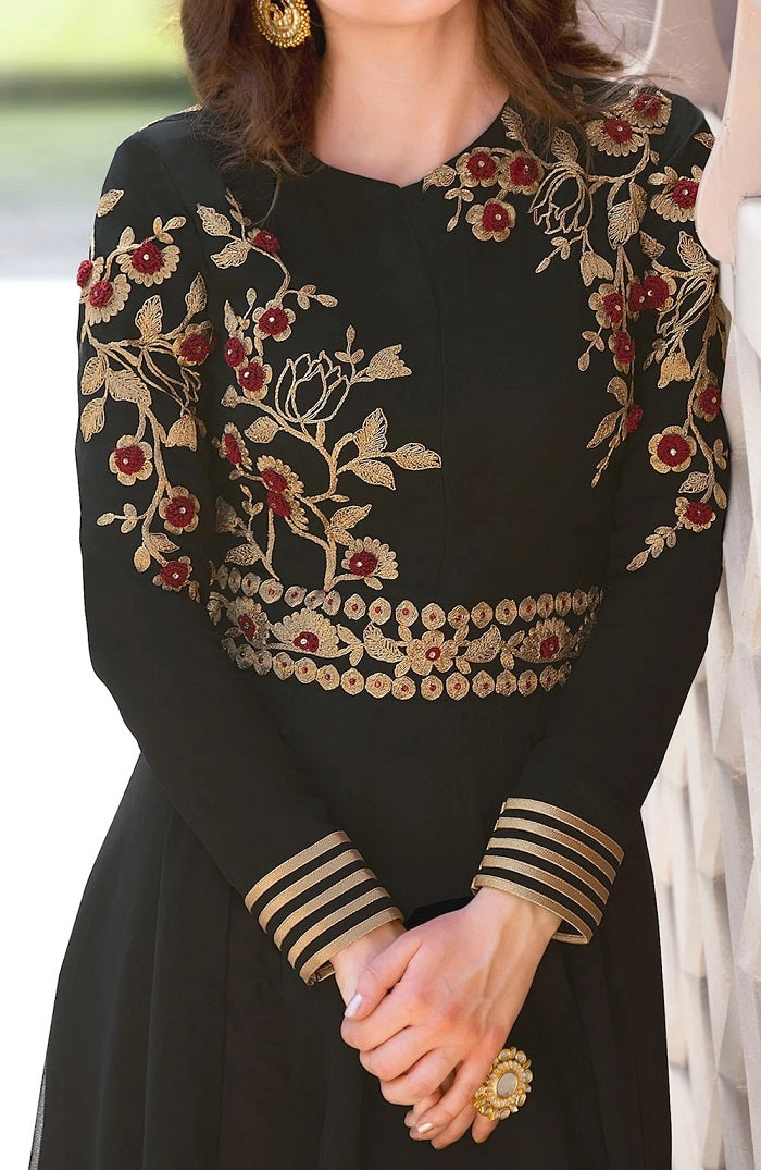 Stylish Embroidered Black Anarkali Salwar Kameez MYSK-196