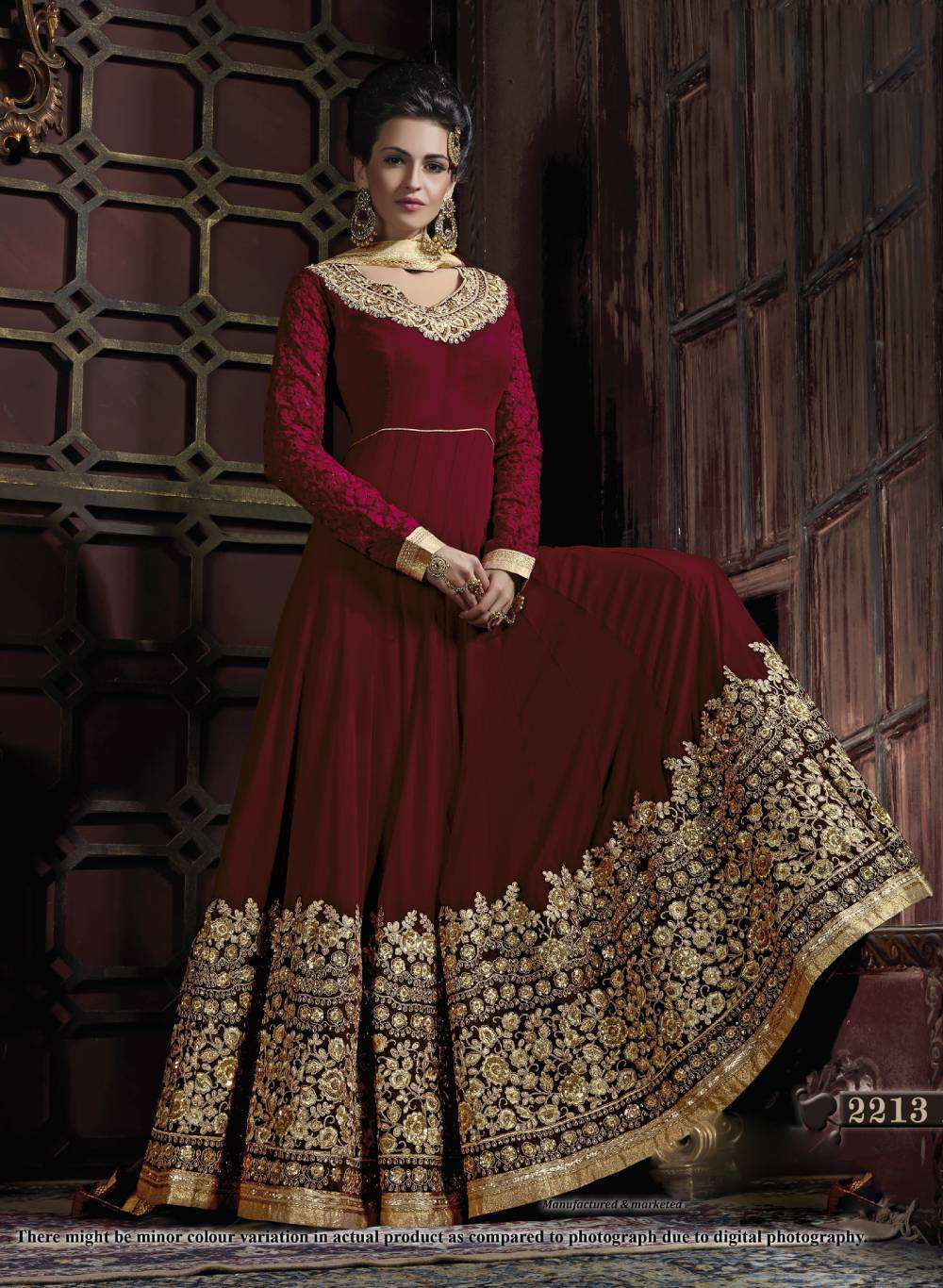 Embroidered Dress Red Georgette With Floral Design Salwar Kameez MYSK-1961