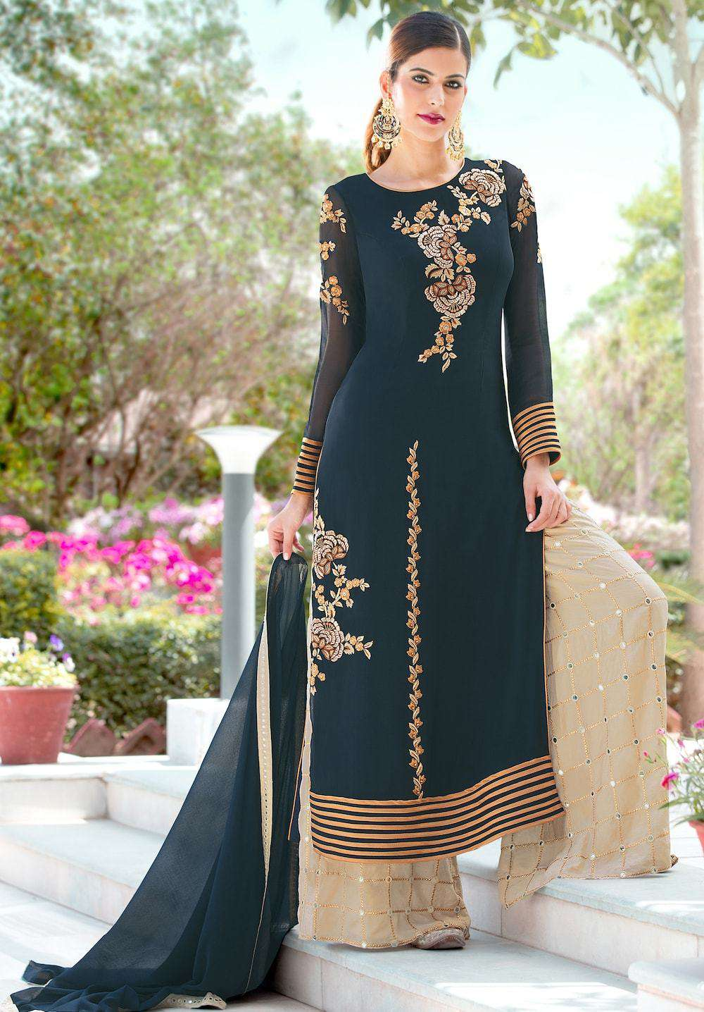 Stylish Embroidered Teal Anarkali Salwar Kameez MYSK-197