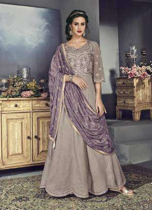 Brown Tussar Silk Embroidered Salwar Kameez MYSK-1986