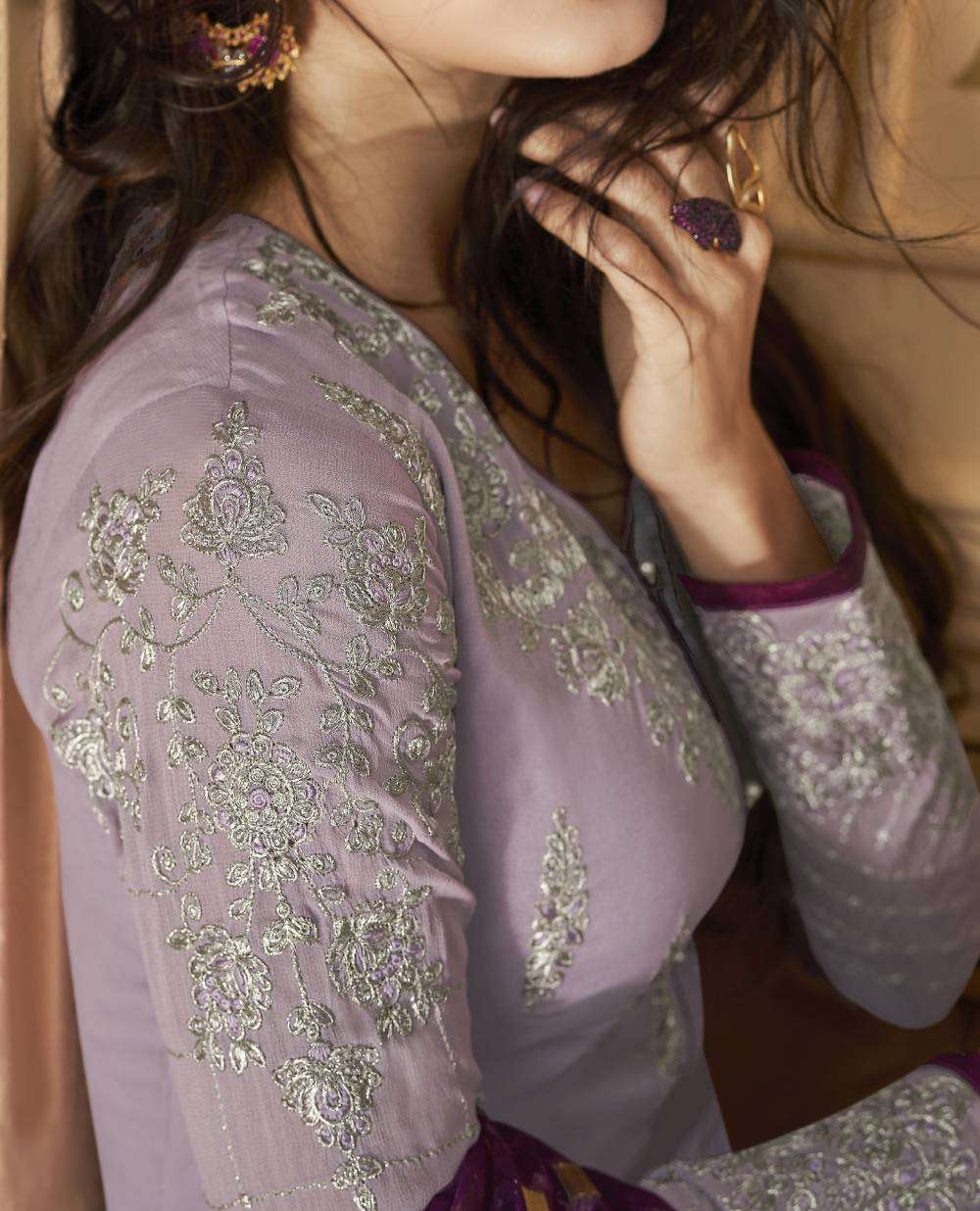 Light-Purple Apple Georgette Festive Look Designer Salwar Kameez MYSK-2000