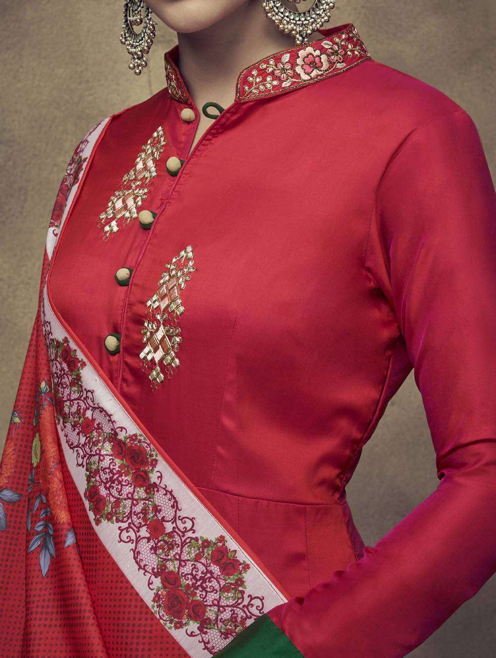Red Designer Taffeta Silk & Satin Embroidered Salwar Kameez MYSK-2026