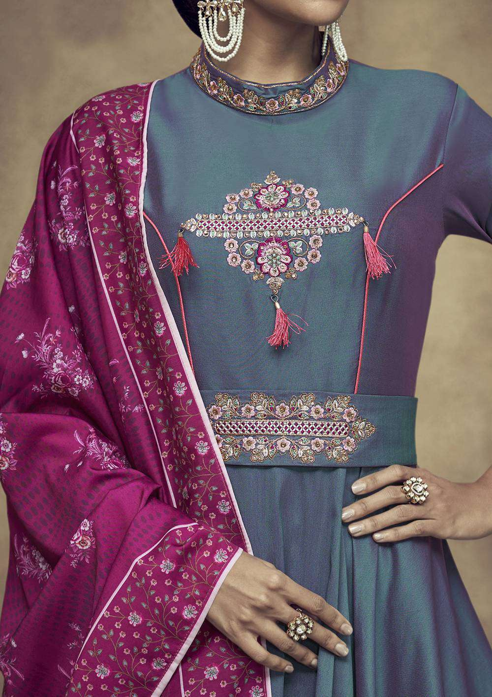 Light-Blue Designer Taffeta Silk & Satin Embroidered Salwar Kameez MYSK-2027